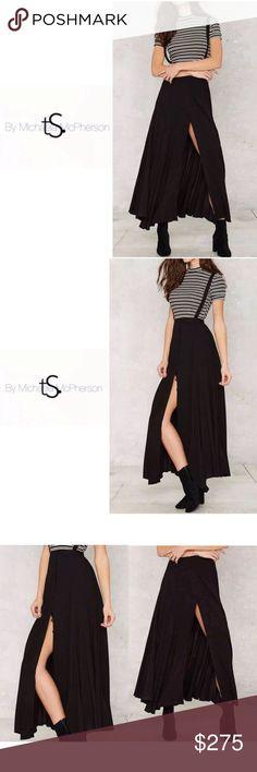 HPS U S P E N D E R  S P L I T•COMING SOON• NEW • \\tRINITY Squared•// Suspenders Slit Maxi Skirt ::: Black ::: Soft Chiffon ::: S tRINITY Squared• Skirts Maxi
