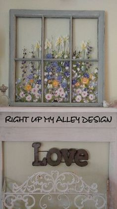 Old painted window .. such gorgeous flowers! #repurposed #window