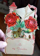ANTIQUE VINTAGE GERMAN VALENTINE'S DAY CARD (circa 1920's) ~ DIE CUT ~ 3-D Vintage Valentine Cards, Be My Valentine, 3 D, German, Antiques, Deutsch, Antiquities, Antique, German Language