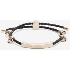 Alexander McQueen Nappa Friendship Skull Bracelet (600 CAD) ❤ liked on Polyvore featuring jewelry, bracelets, skull bangle, adjustable friendship bracelet, alexander mcqueen bangle, skull jewelry and skull jewellery