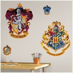 Wall Decals for Harry Potter Themed Rooms - Hogwarts School of Witchcraft and Wizardry Peel-and-Stick Crest - Harry Potter and Hermione Themed Kids Rooms, Bedrooms, Playrooms