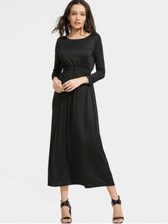0017e9ef442 Black long sleeve maxi dress exclusively for women