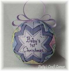 Baby's First Christmas Ornament - Quilted Ornament - Rocking Horse - Baby Ornament - Baby& First Christmas Ornament – Rocking Horse Theme – Lavender - Quilted Christmas Ornaments, Baby First Christmas Ornament, Fabric Ornaments, Baby Ornaments, Babies First Christmas, Christmas Balls, Star Ornament, Ornament Crafts, Christmas Crafts