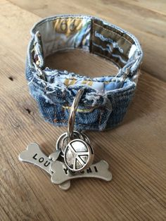 You will NEVER see another one like it! How cool is this!!! A dog collar made completely from the waistband of an old pair of faded jeans.