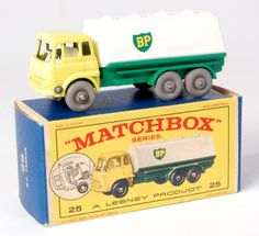 Lot 2337 - Matchbox, 1-75 series No.25 BP tanker, Bedford yellow cab, green chassis, white tank BP, fine tread