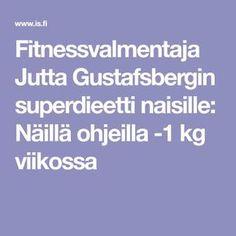 Fitnessvalmentaja Jutta Gustafsbergin superdieetti naisille: Näillä ohjeilla -1 kg viikossa Apple Body, Fitness Motivation, Exercise Motivation, Health Fitness, Food And Drink, Drinks, Sports, Drinking, Hs Sports