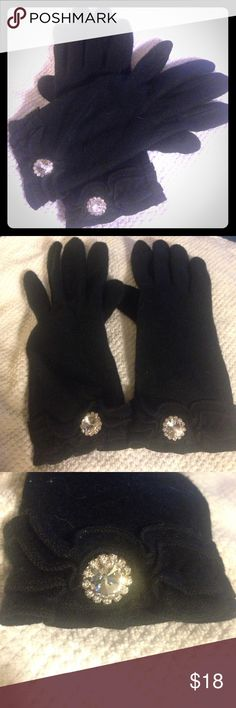 NWOT Soft Black Gloves w/ Bling and Ruffles 🌈10%!OFF BUNDLES OF TWO OR MORE! 🌈Brand new without tags, never worn, these black gloves are ultra-soft and super-stylish. Awesome bling on the top of wrist is even sparklier in person. Feminine ruffled details wrap all the way around the wrist. Plus, the index fingers and thumbs have textured texting pads so you don't have to take your gloves off to use your phone! Pretty and practical! Reasonable offers welcome! Accessories Gloves & Mittens