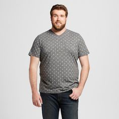 Men's Big & Tall V-Neck T-Shirt Mesa Gray LT - Mossimo Supply Co., Size: L Tall