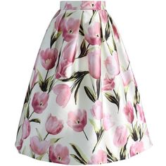 Chicwish Tulip Admirer A-line Midi Skirt (€38) ❤ liked on Polyvore featuring skirts, white, knee length a line skirt, white a line skirt, box pleat skirt, white midi skirt and white tulip skirt