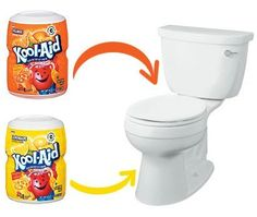 Quick Tip: Clean Your Toilet With Kool-Aid Although lemon or organge flavor has citric acid that helps to clean your bowl! All you have to do is sprinkle the contents of the package in before you head to bed, swirl it around with a toilet bowl brush, and let it sit over night. The acid in the drink mix will go to work cleaning away tough stains and build up if you don't have the best water conditions.