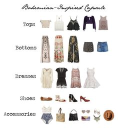 """Bohemian-Inspired Capsule Wardrobe"" by radeleine on Polyvore featuring Betsey Johnson, Dorothy Perkins, Wet Seal, Ally Fashion, Chinese Laundry, Rip Curl, Jimmy Choo, WithChic, Wildfox and Temperley London"