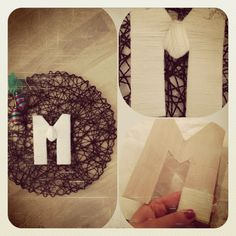 DIY door decoration. Letter cut out of cardboard, wrapped in yarn. Then hot glued onto a place mat.