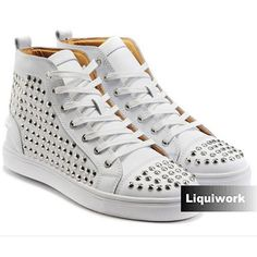 White Studded Leather Cyber Punk Fashion High Tops Shoes Boots for Men SKU-1280536