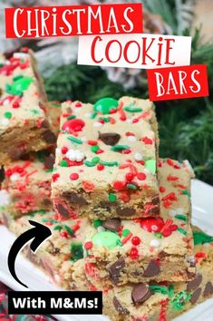 These yummy and festive Christmas cookie bars are packed with red and green M&M's, chocolate chips, and sprinkles, making the buttery cookie bars a fun and easy Christmas dessert. #ChristmasRecipes #ChristmasDesserts #ChristmasCookies #CookieBars #ChristmasBaking