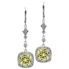 Luella's Canary CZ 5 Carat Dangle Earrings