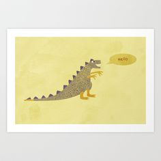 Not a very scary dinosaur Art print by Nic Squirrell on Society6 $19.00
