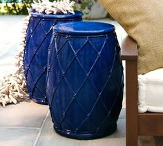 Net Ceramic Accent Table | Pottery Barn Ceramic Stool, Outdoor Lounge,  Seaside Style,