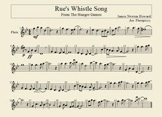 Rue's Whistle Song- Flute Arrangement by flutepiccy on DeviantArt - ALİNA Pop Piano Sheet Music, Clarinet Sheet Music, Violin Music, Piano Songs, Sheet Music Notes, Flute Instrument, Cello, Hunger Games Memes, Hunger Games Fandom