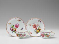 "Königliche Porzellanmanufaktur Berlin, Ca. 1780.Two Berlin KPM porcelain cups and saucers with ""deutsche blumen"", Auction 1065 The Berlin Sale, Lot 42 #KPM #porcelain #porzellan"