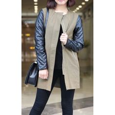 Stylish Round Collar Zippers PU Leather Long Sleeves Women's Coat, AS THE PICTURE, L in Jackets & Coats   DressLily.com