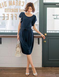 ラッフル袖ジャージーワンピース | 女性ファッション通販サイトFABIA(ファビア)
