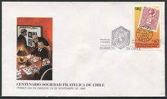 Chile First Day Cover Scott #803 (24 Nov 1988) Columbus stamp (Scott #38) on stamp commemorating the Centennial of the Philatelic Society of Chile.   Pictorial cancellation shows Columbus' image in the Society's logo. Columbus' profile (head) appears on Chile Scott #1-57 (plus others).