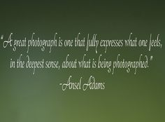 """""""A great photograph is one that fully expresses what one feels, in the deepest sense, about what is being photographed."""" ― Ansel Adams"""