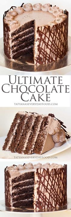 Ultimate Chocolate Cake Recipe, rich cake, light frosting, You will fall head over heels for this restaurant recipe cake. Only Chocolate Cake Recipe, Ultimate Chocolate Cake, Chocolate Sponge Cake, Chocolate Desserts, Chocolate Syrup, Chocolate Buttercream, Fudge Frosting, Chocolate Layer Cakes, Chocolate Toffee