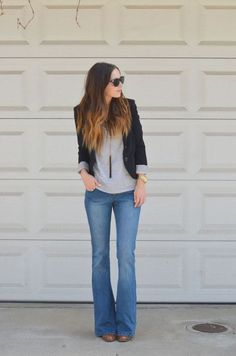 flares, gray shirt, black blazer