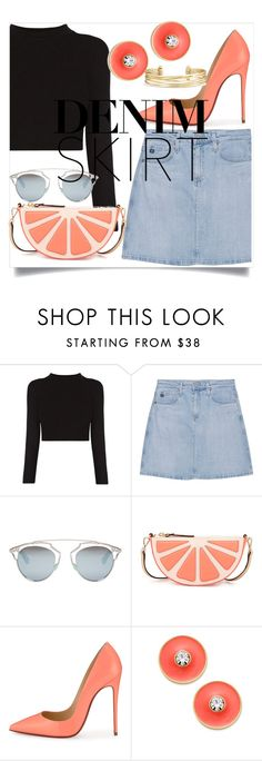 """""""A bit of peach"""" by eimy-marie ❤ liked on Polyvore featuring AG Adriano Goldschmied, Christian Dior, Kate Spade, Christian Louboutin and Stella & Dot"""