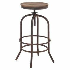 """Adjustable fir wood barstool with an antiqued metal base.     Product: BarstoolConstruction Material: Fir wood and metalColor: Distressed natural and antiqued metalFeatures: Adjustable seat up to 31"""" HDimensions: 26"""" H x 16.9"""" DiameterCleaning and Care: Wipe clean with a dry cloth"""