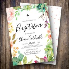 Wedding Invitations & Stationery by NellysPrint Baby Wolverine, Invites, Wedding Invitations, Baby Dedication, Christening Invitations, Baby Baptism, Floral Invitation, First Communion, 50th Anniversary