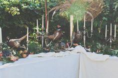 pheasant table decor #woodlandwedding #oregon