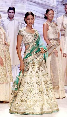 The perfect green! JJ Valaya adds dashes of green to instantly pep-up this beautiful lehenga. Indian Wedding Outfits, Pakistani Outfits, Indian Outfits, Pakistan Fashion, India Fashion, Asian Fashion, Indian Look, Indian Wear, Pakistani Bridal