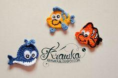 Krawka: Underwater world applique - free pattern for whale, nemo fish, octopus, seahorse, crab Crochet Fish, Love Crochet, Crochet Crafts, Crochet Dolls, Crochet Flowers, Crochet Baby, Crochet Projects, Knit Crochet, Appliques Au Crochet