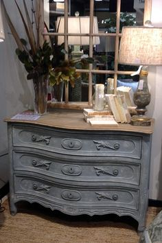 You will absolutely love this shabby chic dresser! The soft blue color keeps the ornamentation feeling light and dainty.   Houston TX   Gallery Furniture  