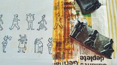 """""""Morning Walkers"""" detail. Collaboration by Calcutta-based designers Syu's and Jit Art Studio - a playful take on various characters on their morning walks in Calcutta"""