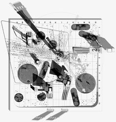 """SCI-Arc Library exhibition, """"London Eight,"""" curated by Sir Peter Cook Architecture Mapping, Architecture Graphics, Architecture Drawings, Architecture Models, Landscape Architecture, Architecture Illustrations, Paper Architecture, Architecture Student, Classical Architecture"""
