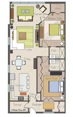Awesome small floor plan! Practically two suites, and separated by their bathrooms. Plus a sunroom and an open concept. I would break up closet space for guest room. Create coat closet and entry to that bathroom with small hallway and door to guest room. Possibly smaller doorway into master suite so closet can be bigger. Closet at entry could be a pantry closet instead of coat closet. Could have covered patio on back. by AislingH