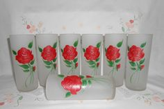Federal Hand Painted Frosted Glasses with Red Roses Set of 7 by WeBGlass on Etsy