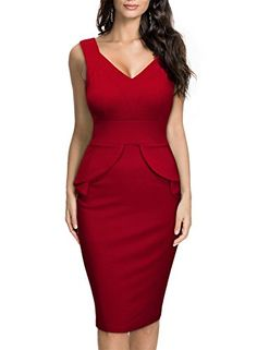 Bridesmaid Dresses - Miusol Womens Deep V Neck Sleeveless Peplum Slim Business Pencil Midi Dress -- Read more reviews of the product by visiting the link on the image.