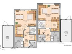 Twin house Twin L by Kern-Haus Semi Detached, Detached House, Villa Plan, Apartment Floor Plans, Floor Plan Layout, Narrow House, Ground Floor Plan, Living Room With Fireplace, House Plans