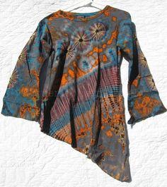 Asymmetrical Grey Tie Dye Hippie Boho Cotton Knit Long Sleeve Shirt Size M NWOT #CottonClubs #KnitTop #Casual