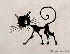 Clip Art Design Transfer Digital File Vintage Download DIY Scrapbook Shabby Chic Pillow Burlap Black Cat Silhouette Halloween Art No. 0488