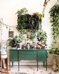 / sfgirlbybay green buffet in cafe with living wall created with plants. Decor, House, Interior Decorating, Wall Decor, Interior, Home Decor, House Interior, Living Wall Decor, Indoor