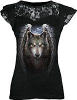 Spiral - Womens - MYSTICAL MOONLIGHT - 2in1 White Ripped Top Black at Amazon Women's Clothing store: