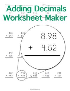 Customizable and Printable Multiplying Decimals Worksheet Maker ...