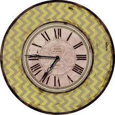 "Shabby Elegance Chevron 24.5"" Wall Clock"