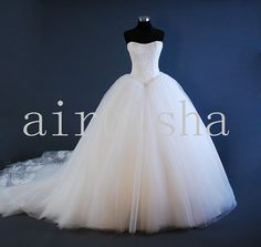 Princess multilayer sweetheart tulle wedding dress. $289.00, via Etsy.