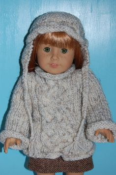 American Girl doll clothes knit Aran cable by BirdieBsBoutique, $24.99